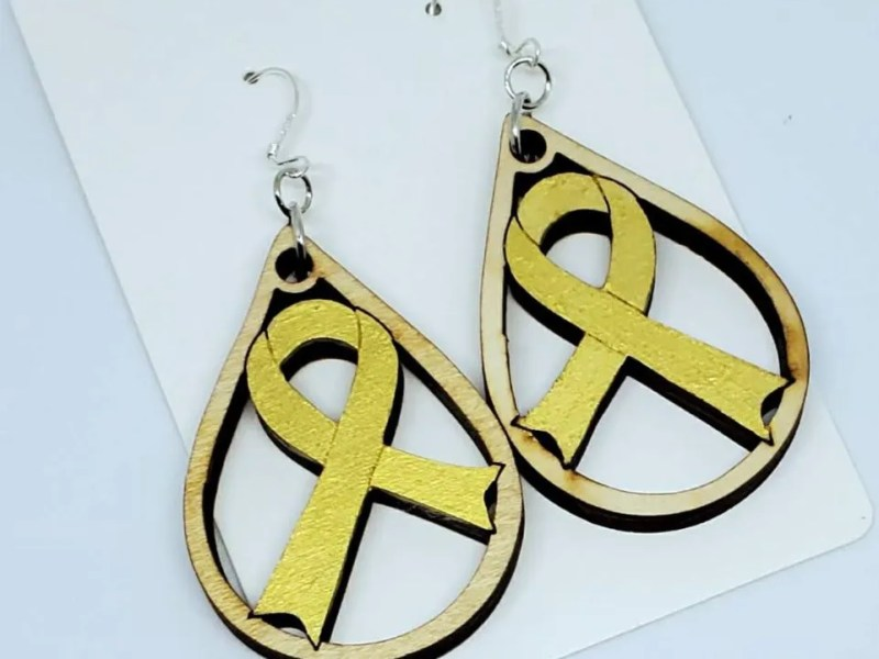 Gold Dangly Awareness Ribbon Earrings