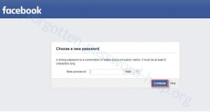Reset your Facebook password step 5