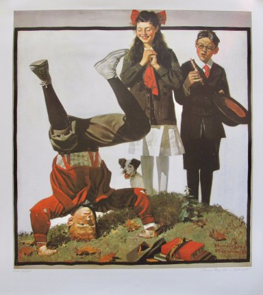 NORMAN ROCKWELL COUSIN REGINALD IS CUT OUT 1983 Limited Edition Lithograph