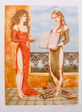 "SOPHIE BUSSON ""LOOK"" Hand Signed Limited Edition Lithograph French Art Mucha"