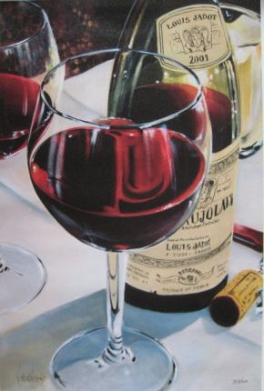 Victor Ostrovsky BEAUJOLAIS Hand Signed Limited Ed. Giclee on Canvas