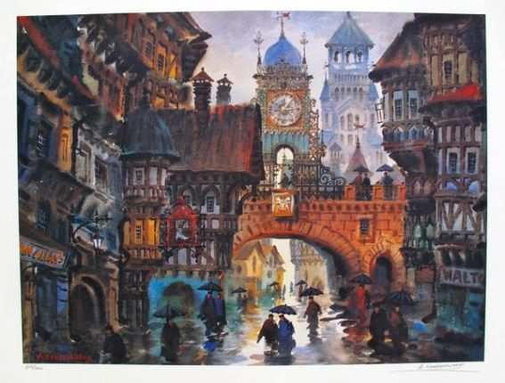 Anatole Krasnyansky CHESTER RAINY DAY Hand Signed Limited Edition Lithograph