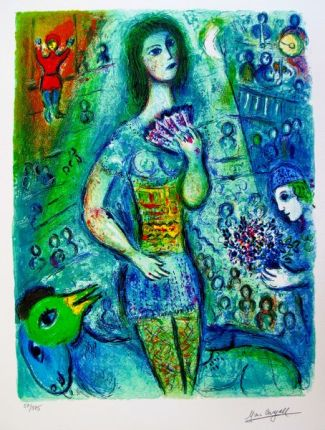 Marc Chagall CIRCUS FAN DANCER Limited Edition Facsimile Signed Small Giclee