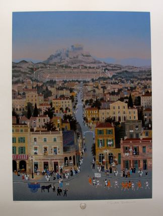 Michel Delacroix ATHENS 1896 OLYMPICS Hand Signed Limited Edition Serigraph