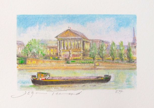 Jean Fernand THE BARGE Hand Signed Limited Edition Lithograph