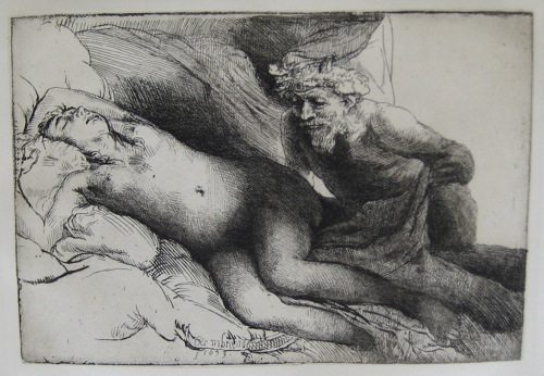 Rembrandt JUPITER & ANTIOPE Large Plate Signed Etching