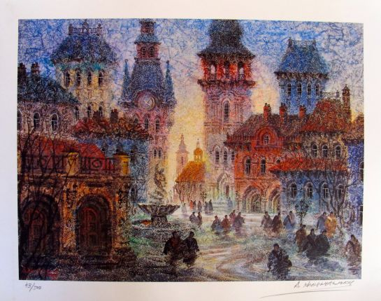 Anatole Krasnyansky OLD CITY OF DANSK Hand Signed Limited Edition Lithograph