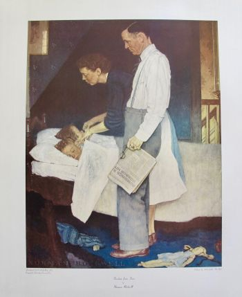 NORMAN ROCKWELL FEAR FROM FREEDOM 1972 Plate Signed Collotype Art