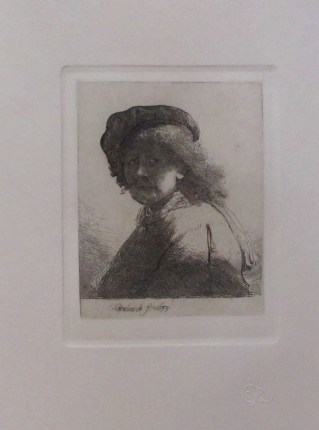 REMBRANDT Amand Durand Signed Etching SELF PORTRAIT IN CAP & SCARF