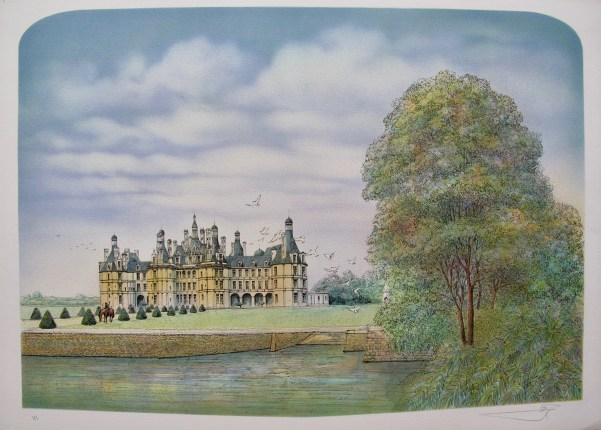 ROLF RAFFLEWSKI FRENCH CHATEAU II Hand Signed Limited Edition Lithograph