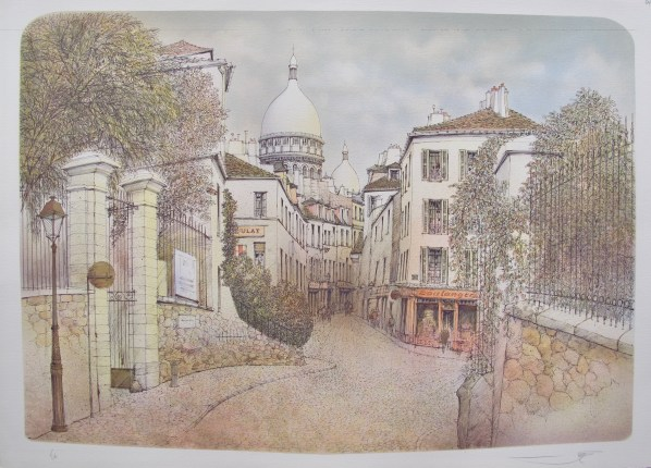 ROLF RAFFLEWSKI MONTMARTRE PARIS Hand Signed Limited Edition Lithograph