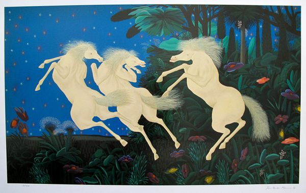 Jose Carlos Ramos TRIO OF HORSES Hand Signed Limited Ed. Serigraph