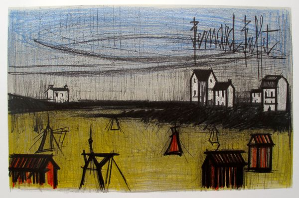Bernard Buffet ON THE BEACH Limited Edition Plate Signed Lithograph