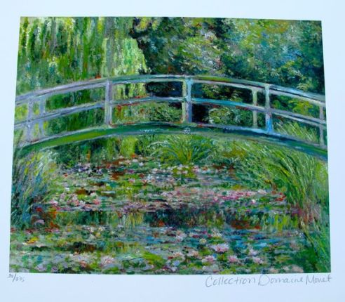Claude Monet JAPANESE BRIDGE Estate Signed & Stamped Limited Edition Small Giclee