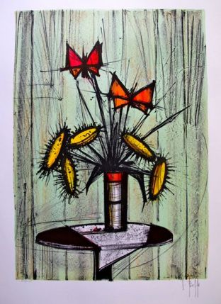 V. Beffa LA PENSEE et TOURNESOLS Hand Signed Limited Edition Lithograph - Similar to Bernard Buffet