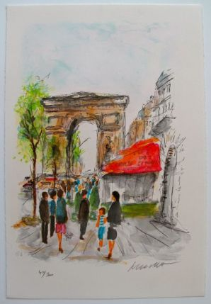 Urbain Huchet ARC DE TRIOMPHE Limited Edition Hand Signed Lithograph