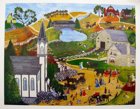 """DENEILLE SPOHN MOES """"SUNDAY MASS"""" Hand Signed Limited Edition Serigraph CHURCH"""