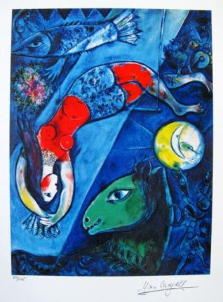 Marc Chagall BLUE CIRCUS Limited Edition Facsimile Signed Small Giclee