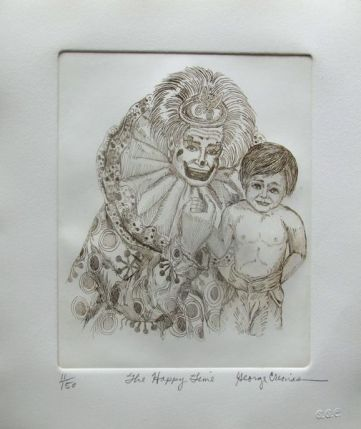 "GEORGE CRIONAS ""HAPPY TIME"" Hand Signed Limited Edition Etching CLOWN"