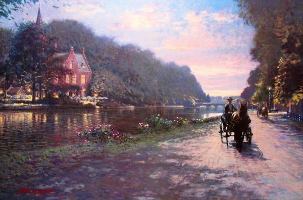 Stefan Baumann HORSE CARRIAGE ALONG LAKE Signed Giclee on Canvas – Ready to Hang