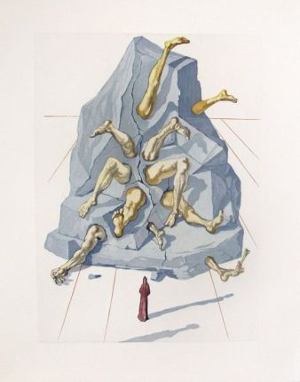 Salvador Dali 1960 DIVINE COMEDY INFERNO #19 Color Woodcut Wood Block Engraving