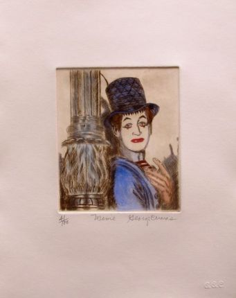 "GEORGE CRIONAS ""MIME"" Hand Signed Limited Edition Color Etching CLOWN"