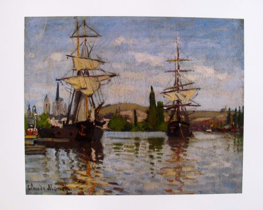 Claude Monet SHIPS RIDING THE SEINE AT ROUEN Plate Signed Lithograph