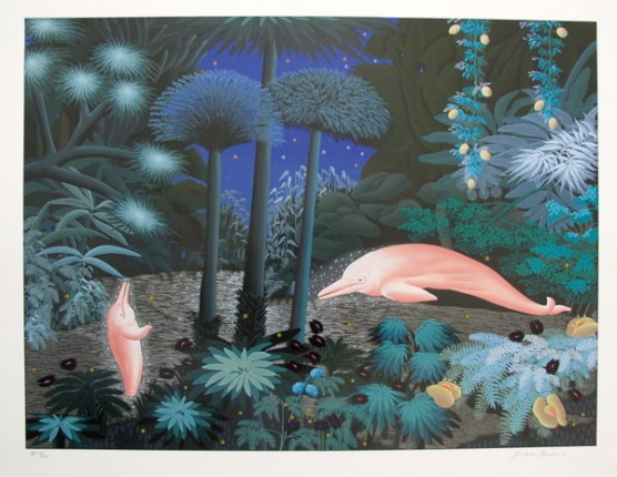 Jose Carlos Ramos PINK DOLPHINS Hand Signed Limited Ed. Serigraph