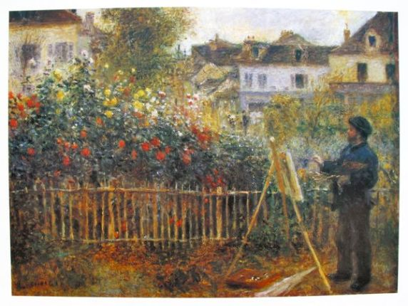 Pierre Auguste Renoir MONET PAINTING IN HIS GARDEN AT ARGENTEUIL Plate Signed Lithograph Pierre Auguste Renoir MONET PAINTING IN HIS GARDEN AT ARGENTEUIL Plate Signed Lithograph