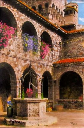 """MARTIN ROBERTS """"COURTYARD WITH WELL"""" Hand Signed Giclee on Canvas Italy"""