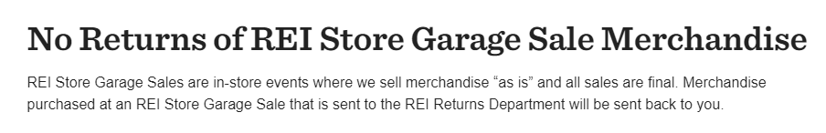 REI Garage Sale Return Policy