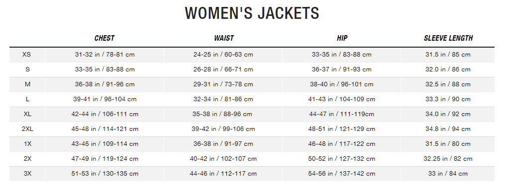The North Face sizing chart for womensjackets small medium large extra large s m l xl length uk cm in chest waist hip sleeve length
