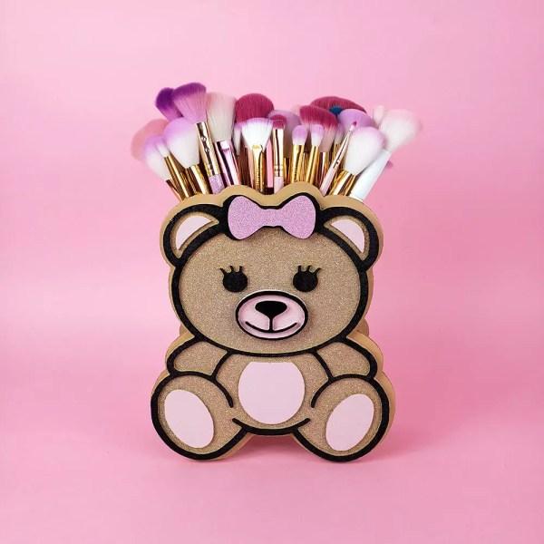 teddy bear makeup brush holder