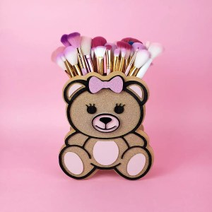 teddy bear makeup brush holder