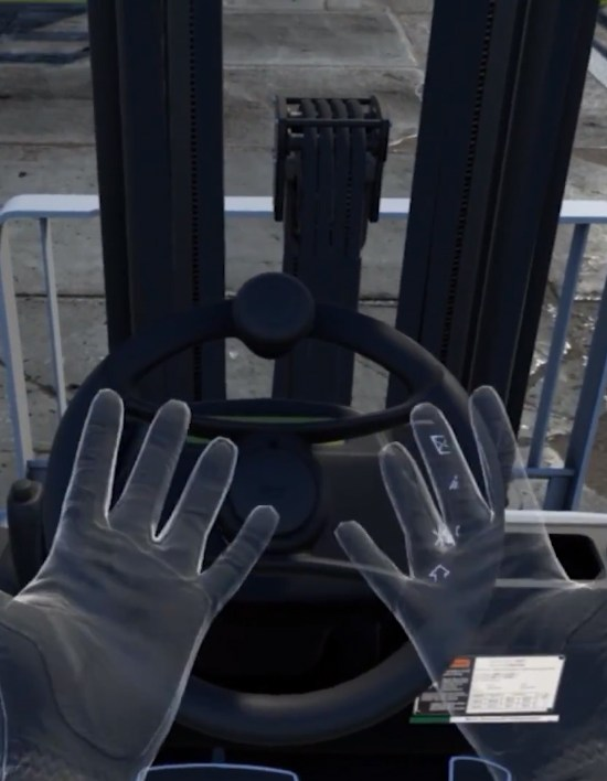 Hand tracking on a Forklift-Simulator