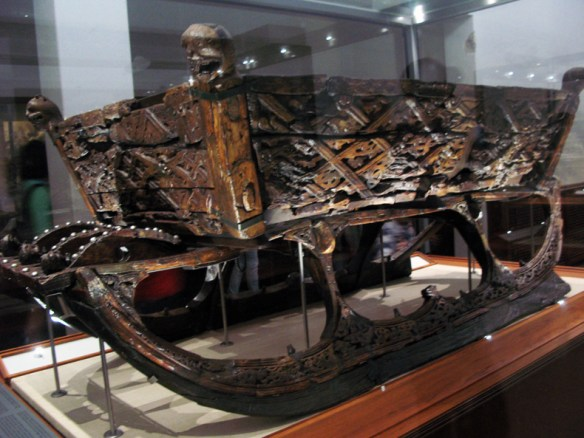 An ornately carved sled unearthed at a burial mound.