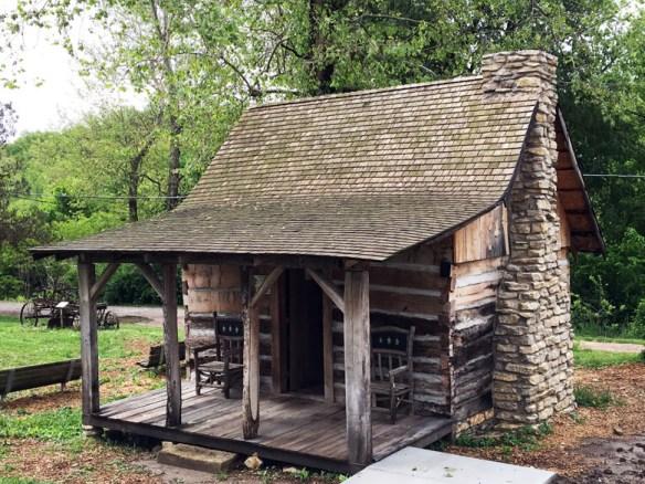 First cabin in interior Flatwater Folk Art Museum Brownville Nebraska