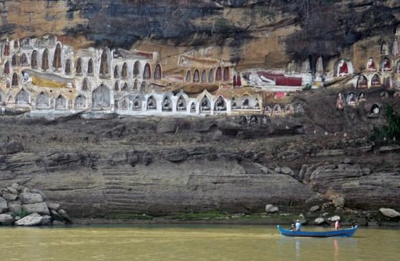 cliff Buddhas Myanmar Amawaterways cruise