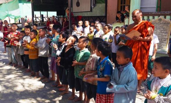 children in Buddhist school Myanmar Amawaterways cruise