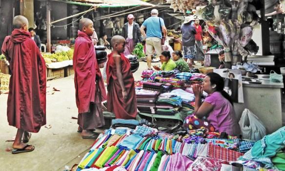 monks begging in market Amawaterways Cruise Myanmar