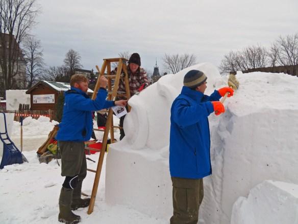 Joyeux Carnaval snow sculpting team from BC