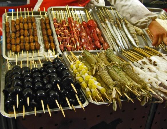 Beijing Night Market - mysterious foods on market stall