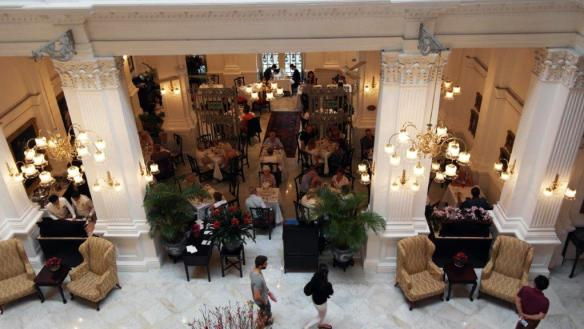 View from above of the Tiffin Room at Raffles Hotel in Singapore-Dining capital of Asia