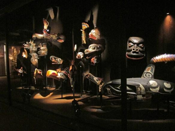 Northwest masks on display -Bikes and Brews - Victoria, BC