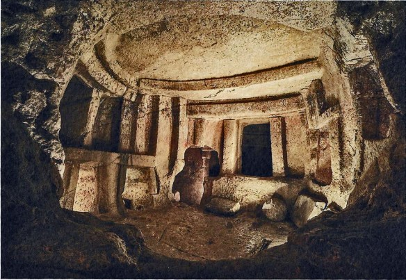 Domed chamber with standing stones and altar.