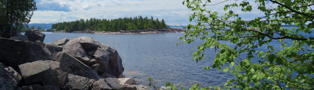 Roxcky shoreline of lake with a forested island in the distance