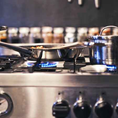 stainless steel cooking pot on stove