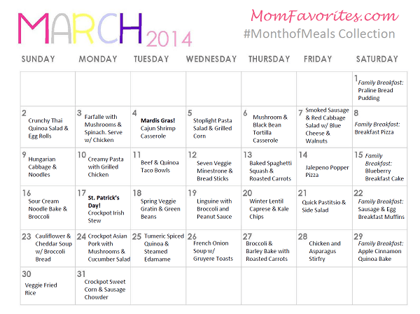 march month of meals menu