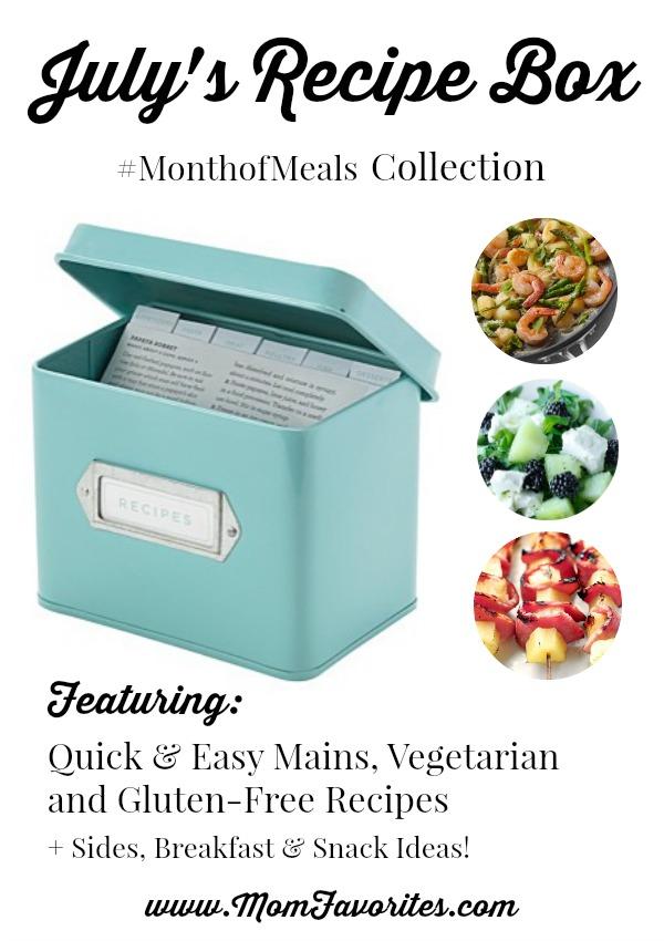 July Recipe Box - Month of Meals Menu Plan