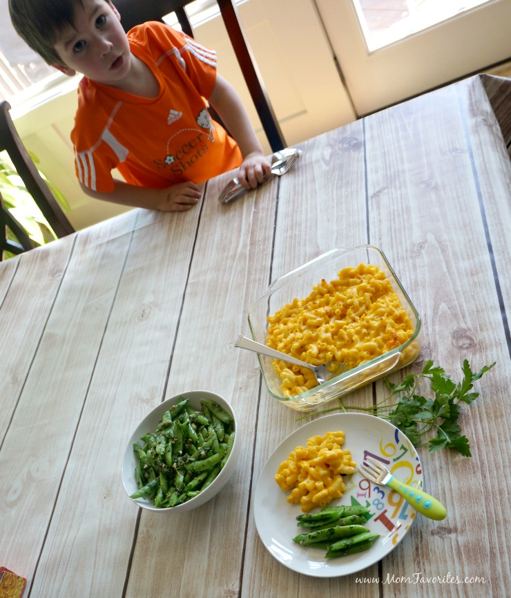 Busy schedules shouldn't keep you from a great family dinner. Macaroni and Cheese and Sugar Snap Peas with Caper Dressing is a no fuss meal that everyone can eat - all at once or when schedules permit!